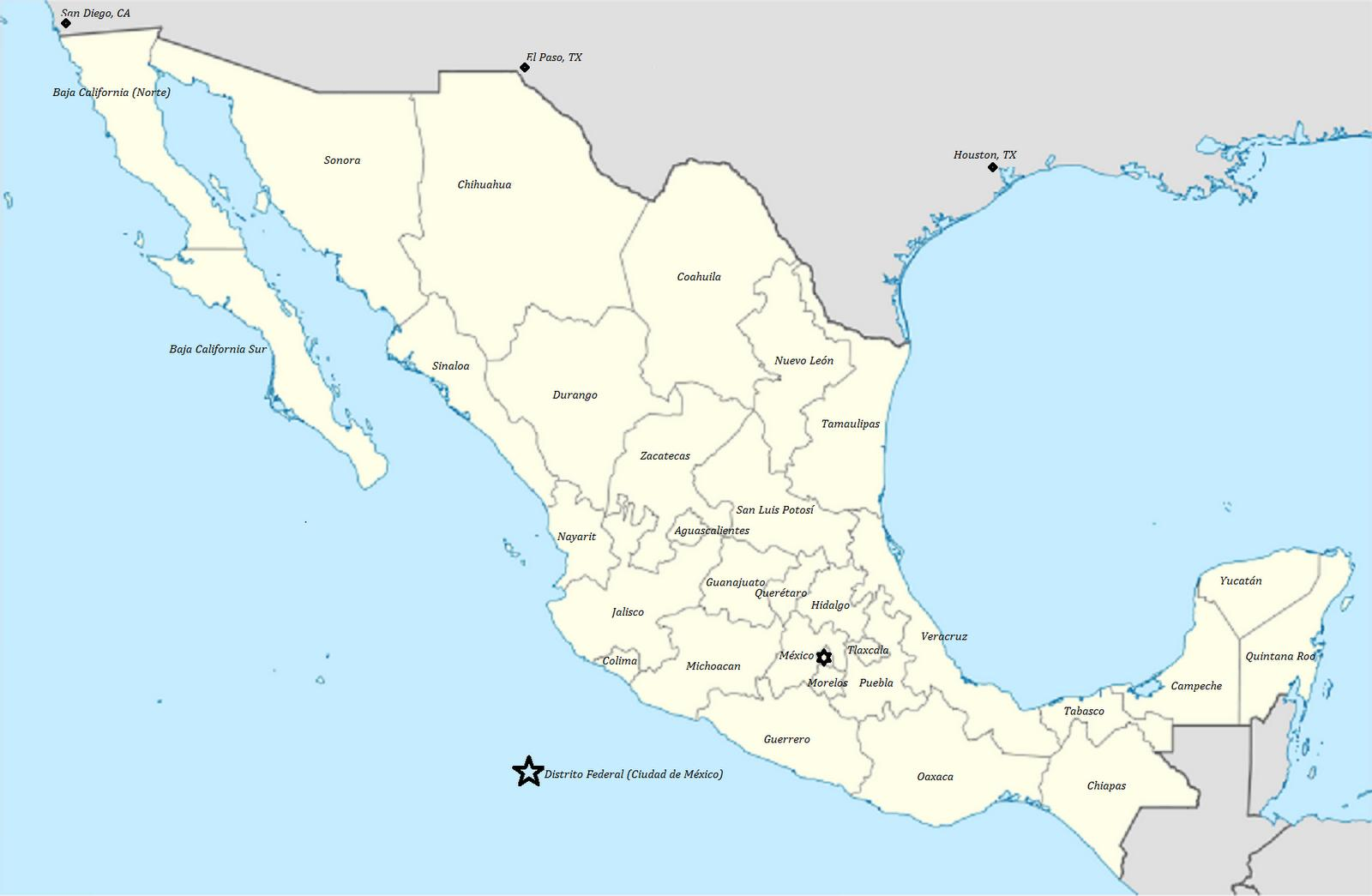 Mexico state kaart State van Mexiko kaart SentraalAmerika suid